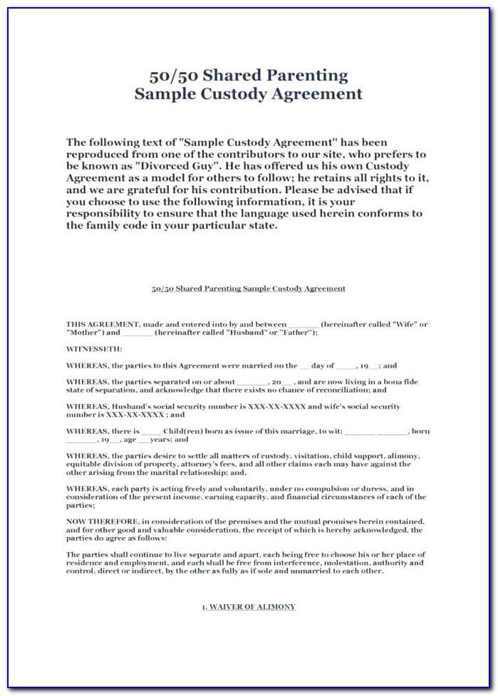 California Child Custody And Visitation Agreement Template