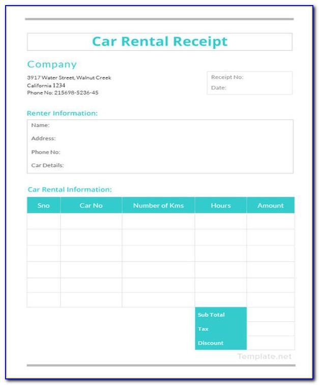 Car Rent Receipt Template