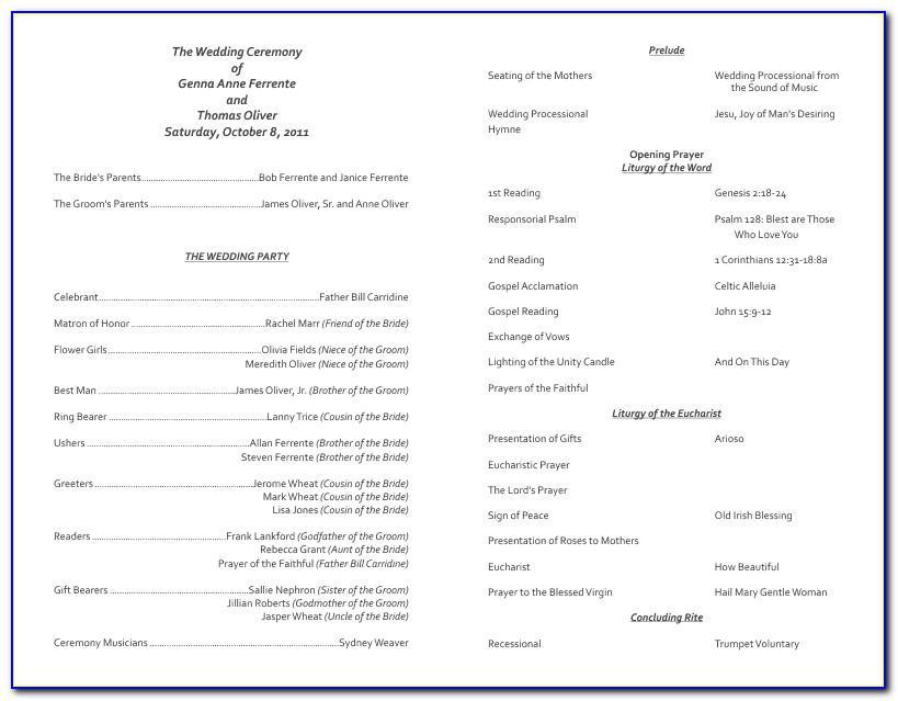 Catholic Church Wedding Program Template Free