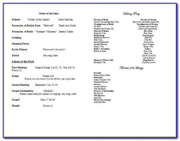 Catholic Wedding Program Template No Mass