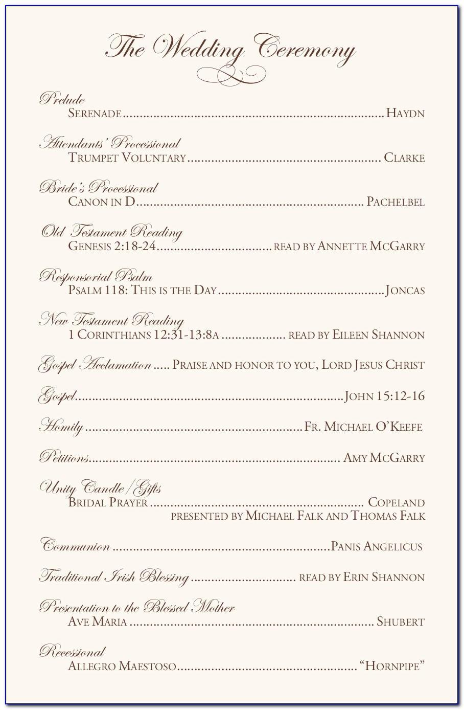 Catholic Wedding Program Template With Mass