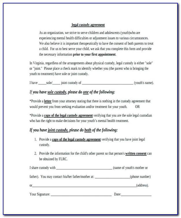 Child Visitation Agreement Letter Template