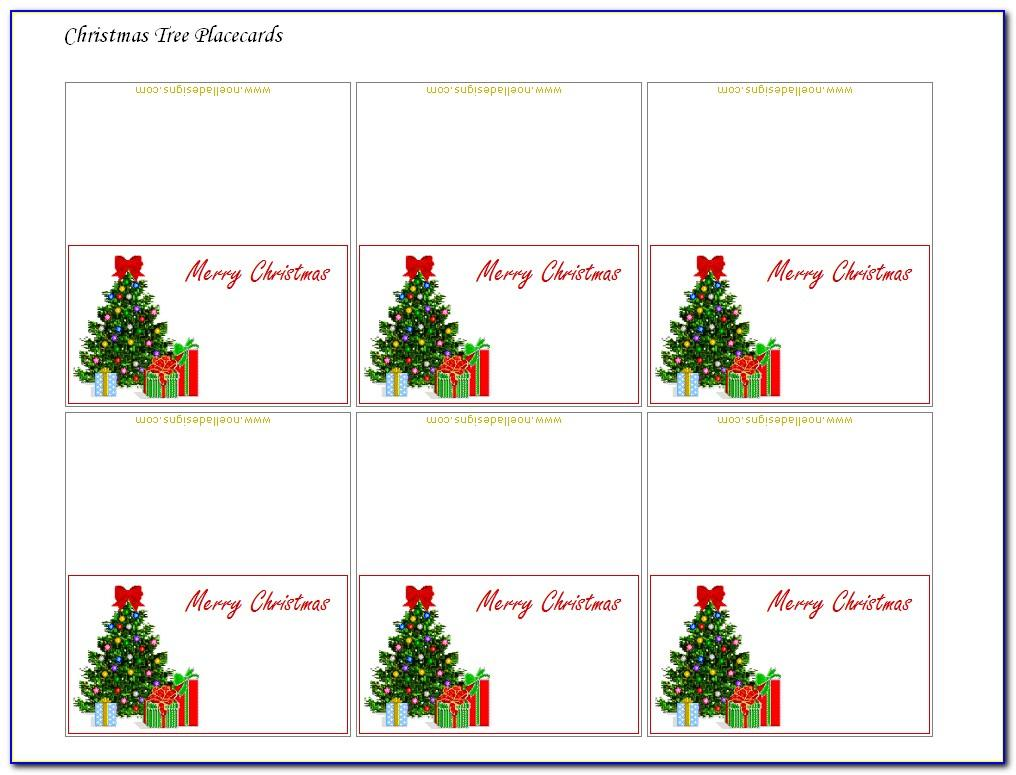 Christmas Place Cards Template Word