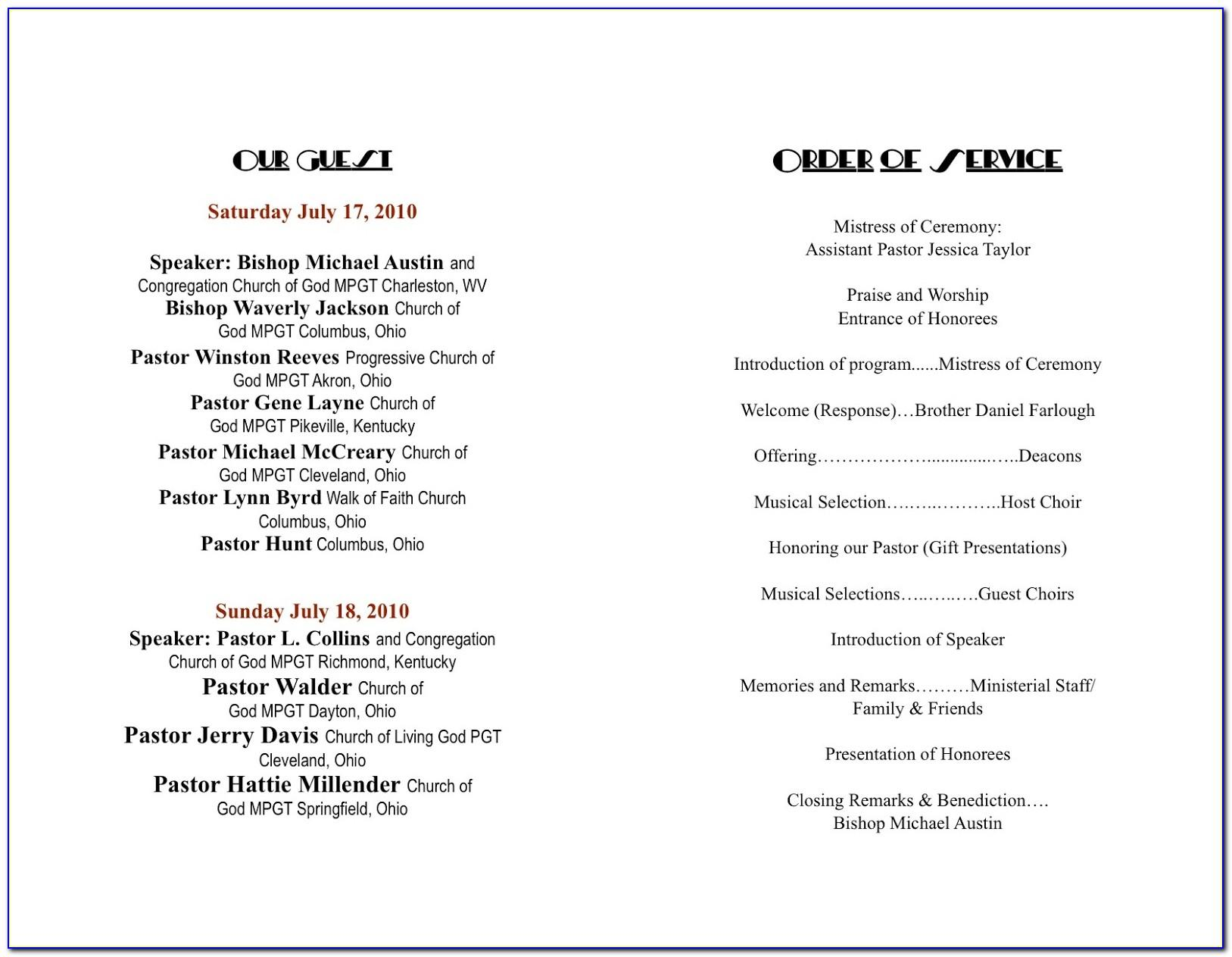 Church Anniversary Program Template Word