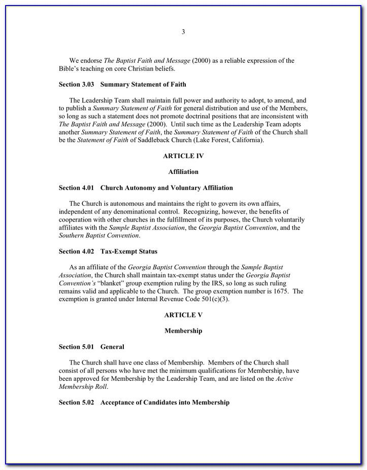 Church Bylaws Examples