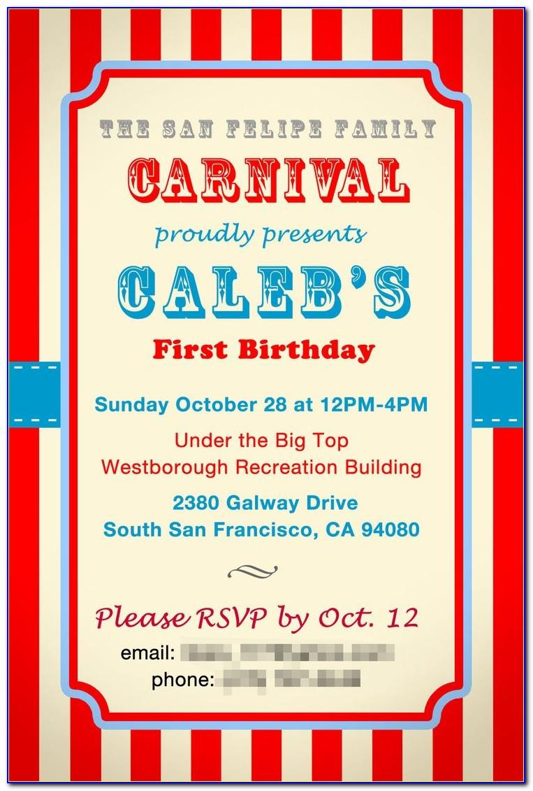 Circus Birthday Invitation Template Free