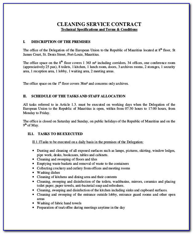 Commercial Cleaning Contract Example