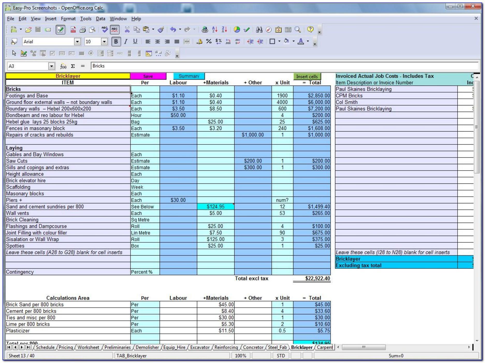 Commercial Construction Excel Templates