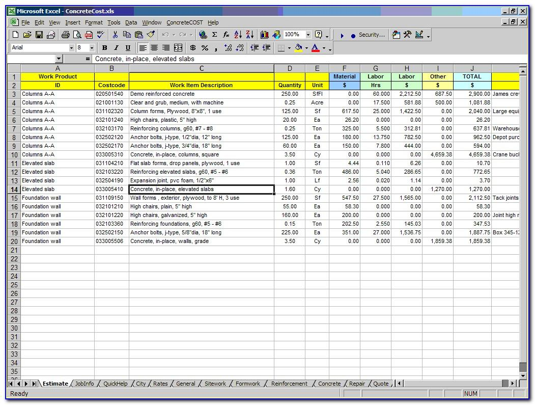 Construction Costs Excel Template