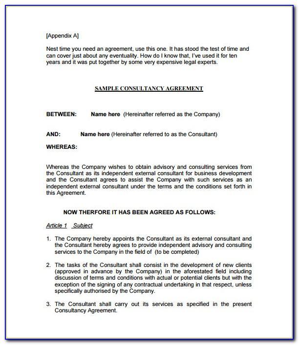 Consultant Agreement Template India