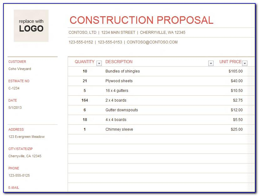 Contractor Quote Template Free