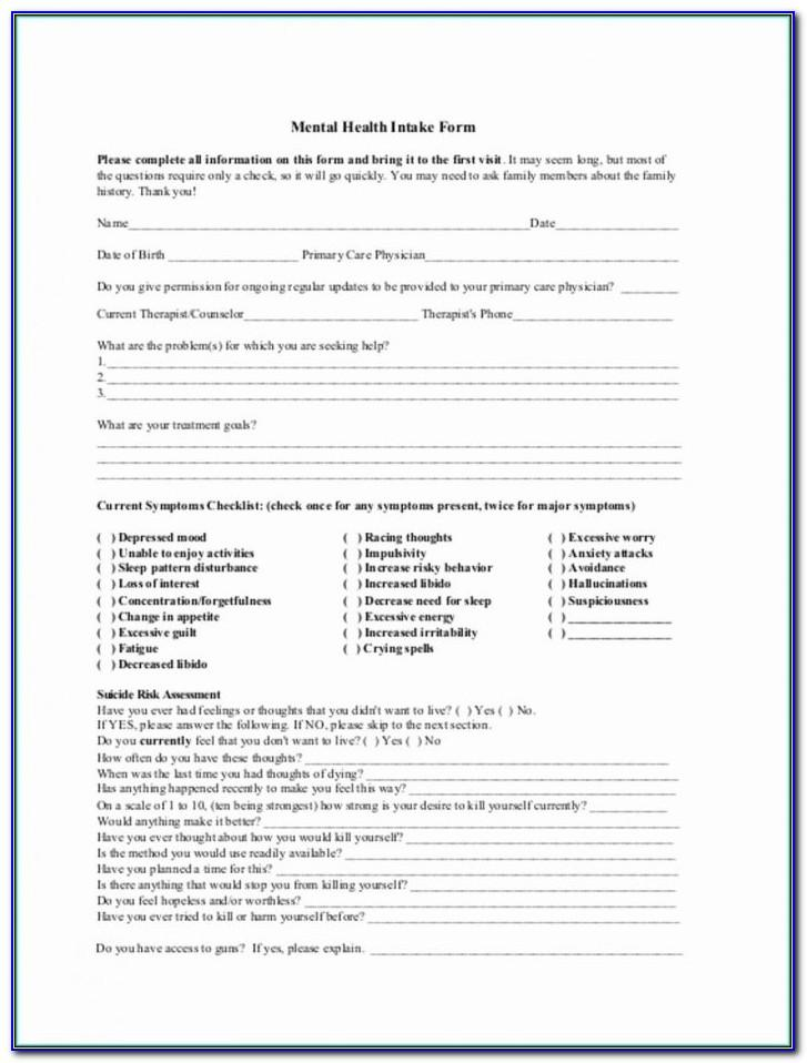 Counseling Client Intake Form Template