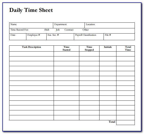Daily Timesheet Template Free Printable