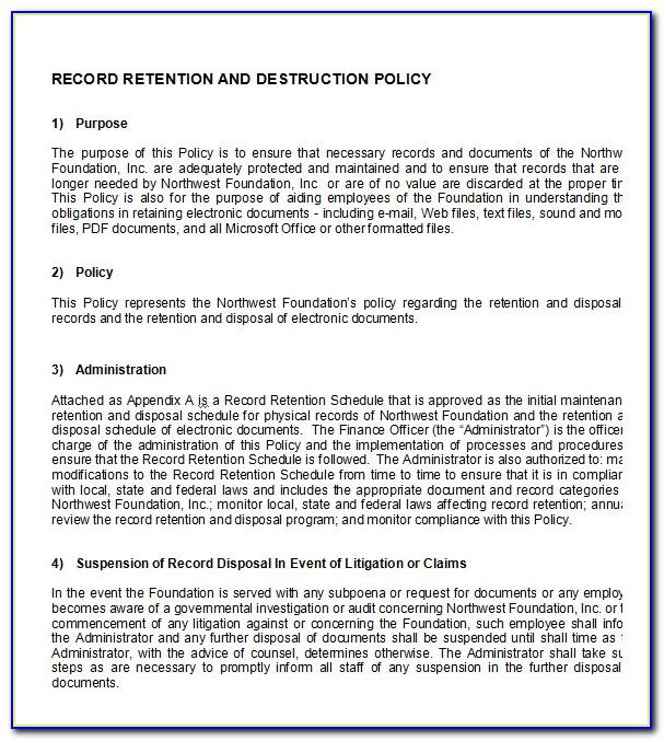 Document Retention Policy Template Australia