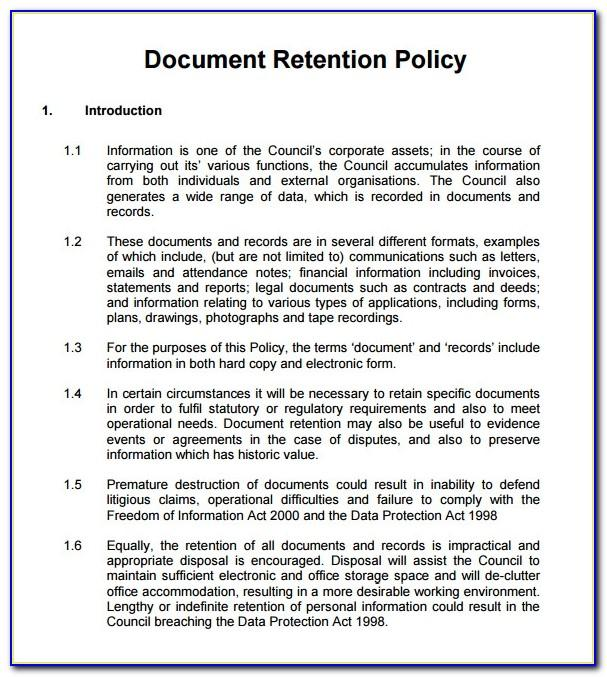 Document Retention Policy Template Uk