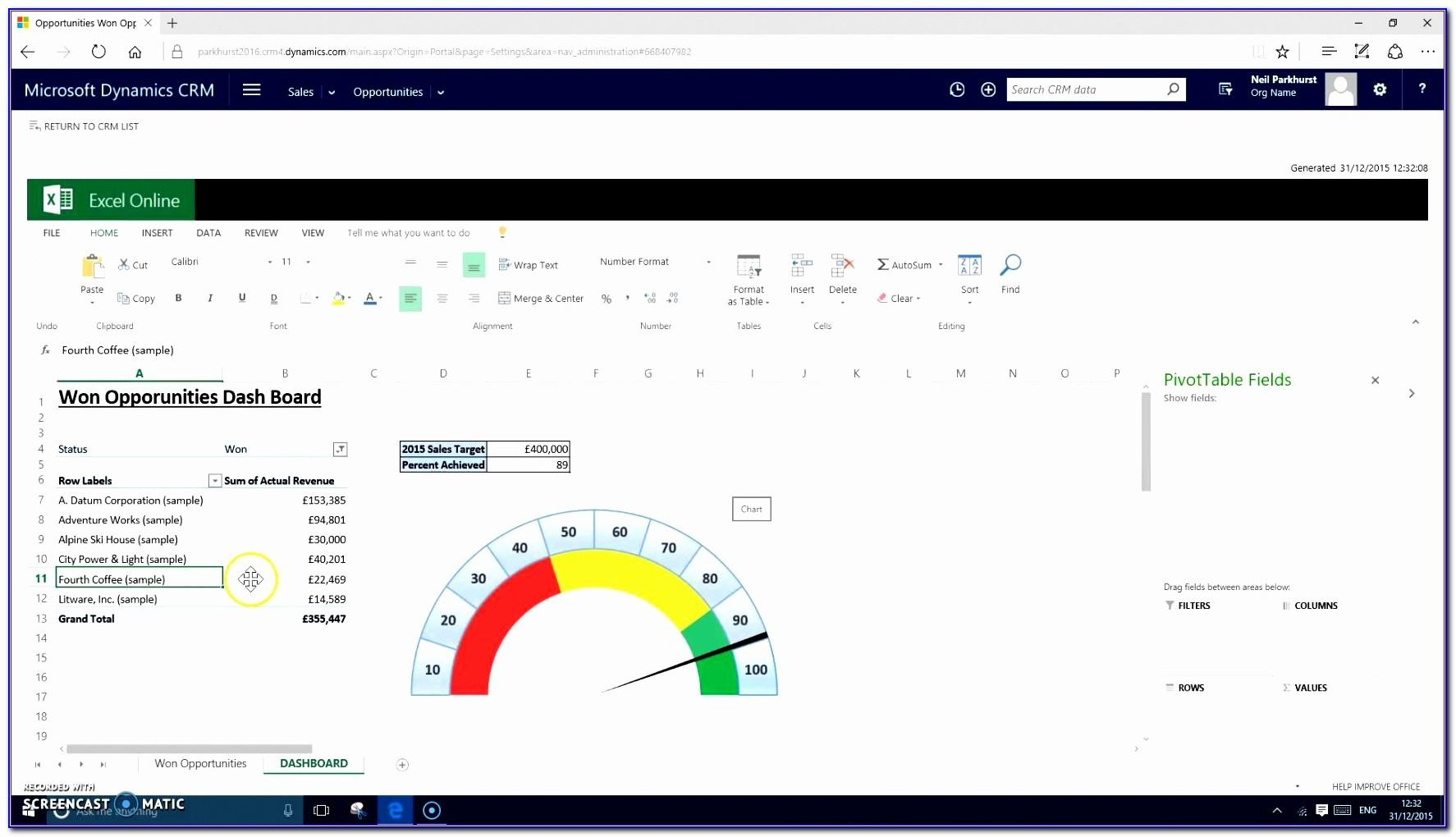 Dynamic Dashboard Template In Excel 2016
