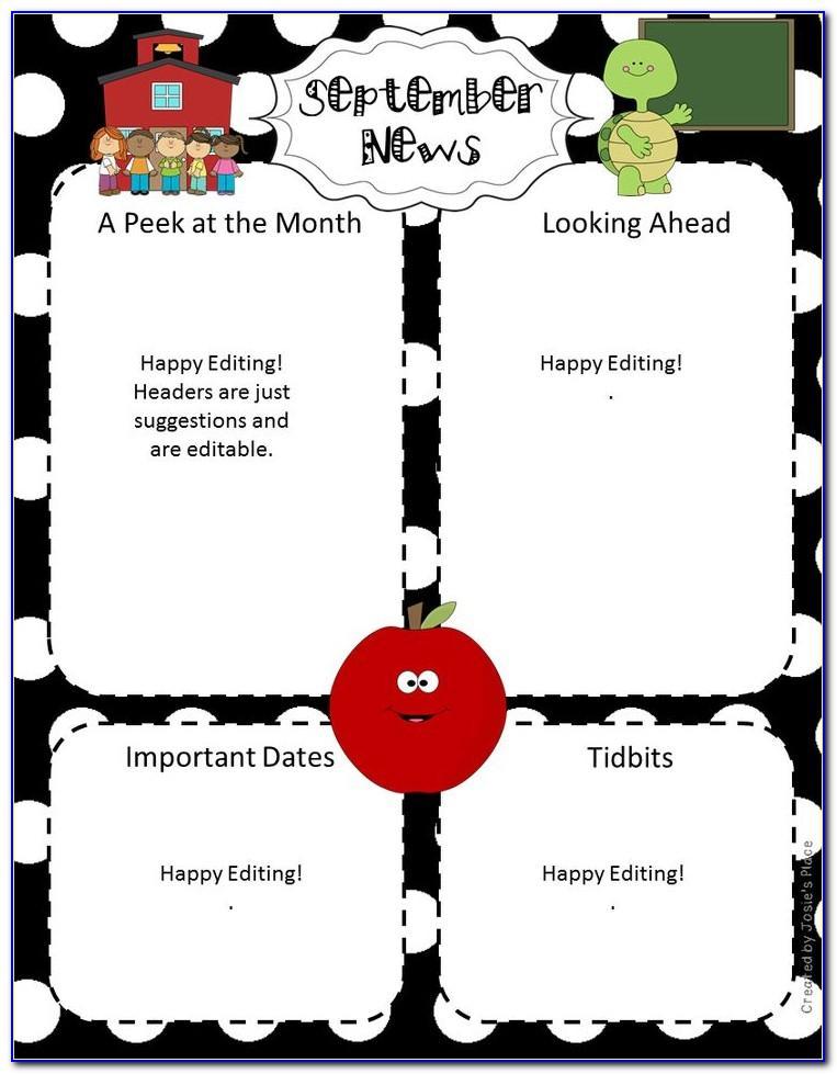 Editable Newsletter Template 2nd Grade