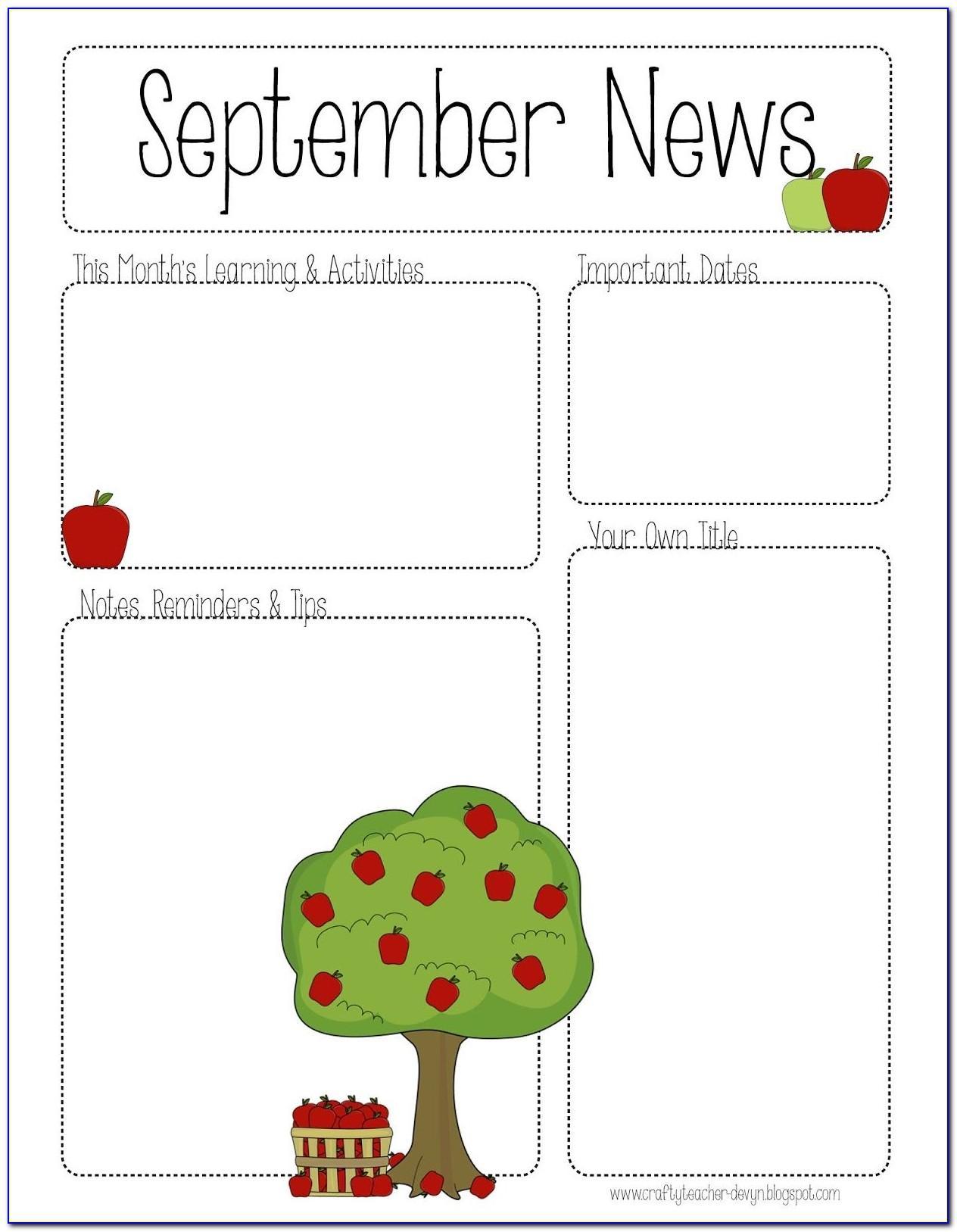 Editable Newsletter Template Elementary