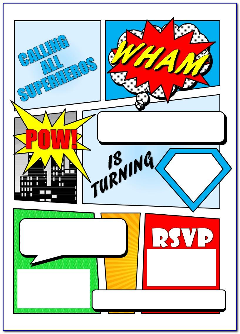 Editable Superhero Birthday Invitations Templates Free