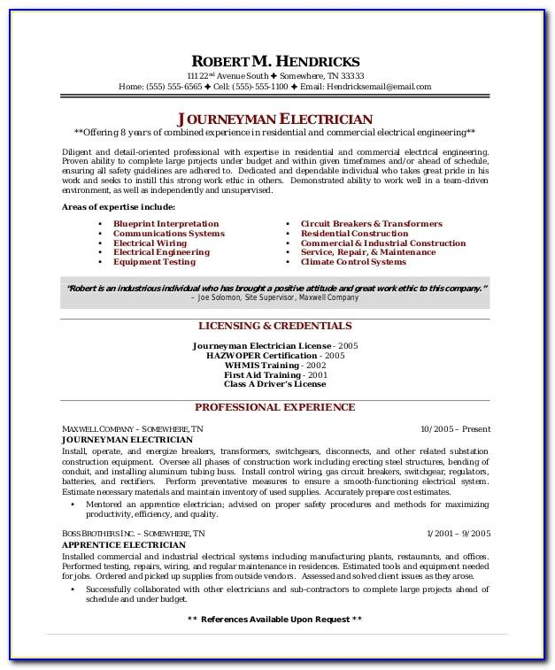 Electrician Cv Template South Africa