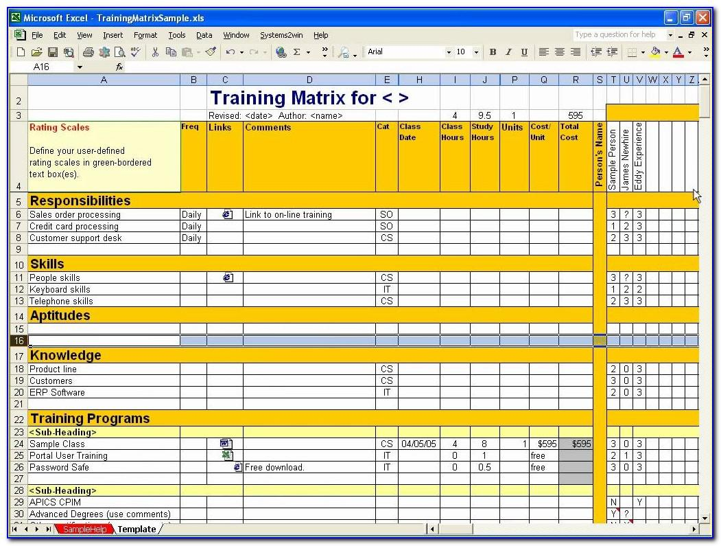 Employee Training Plan Template Excel Download
