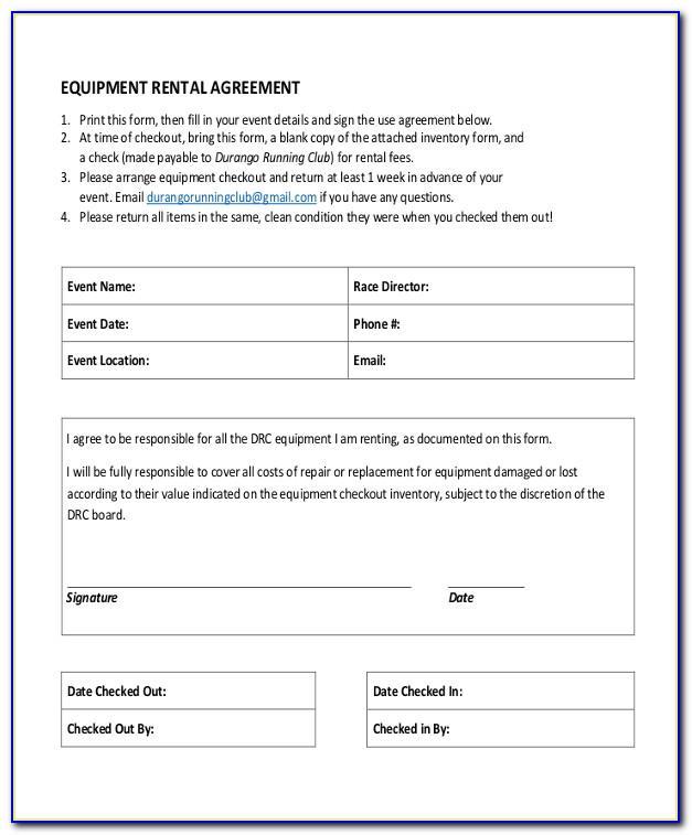 Equipment Rental Agreement Template Bc
