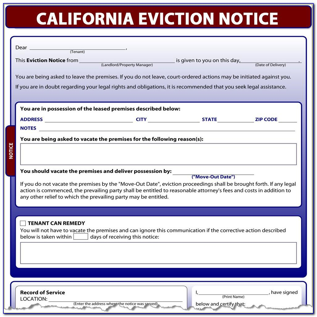 Eviction Notice California Template Free