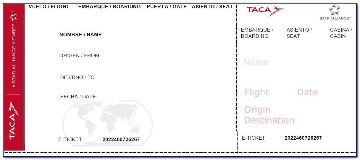 Fake Airline Ticket Printable