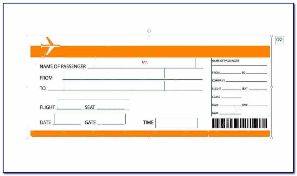 Fake Airline Ticket Template For Gift