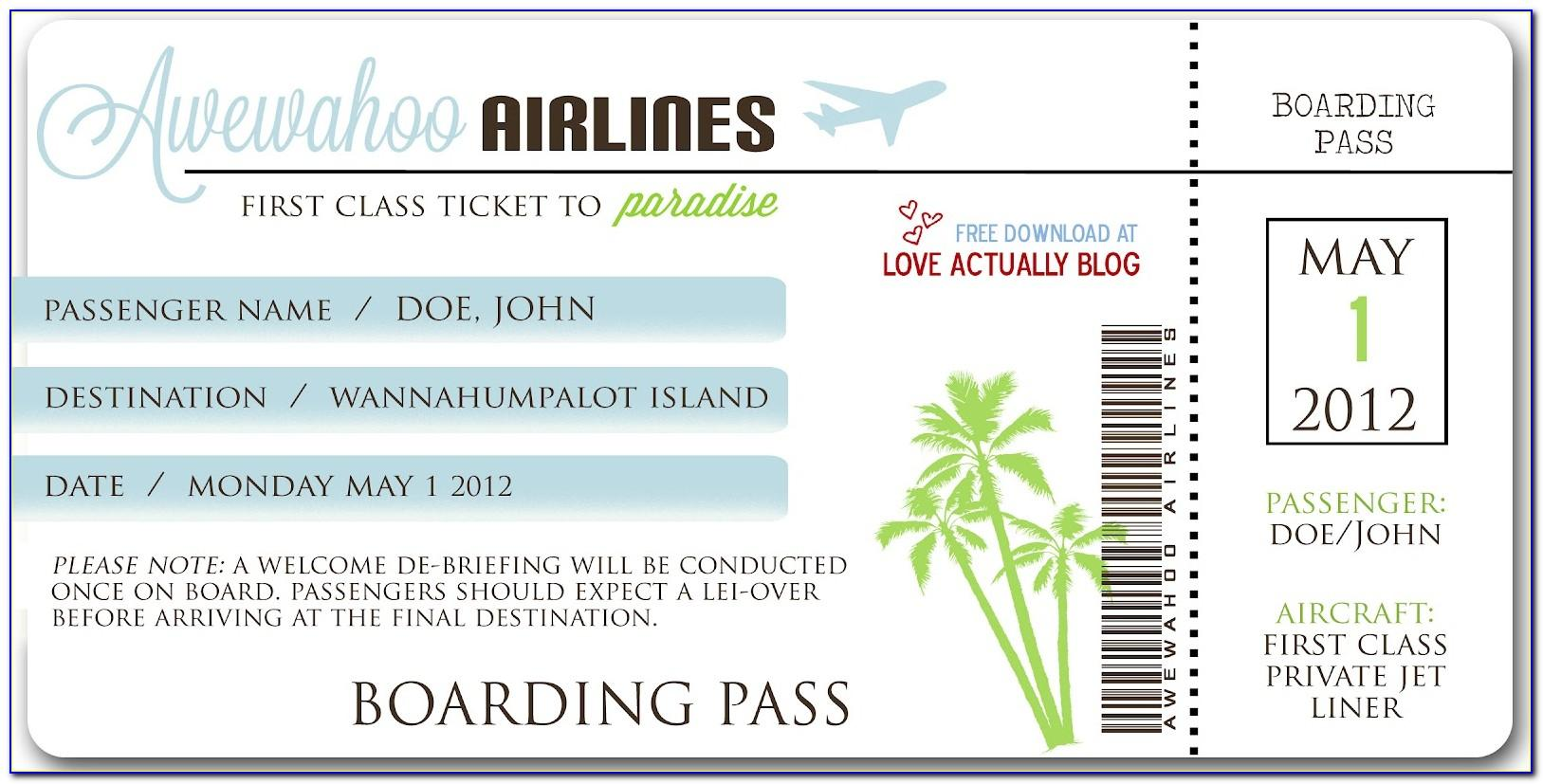 Fake Airline Ticket Template Generator