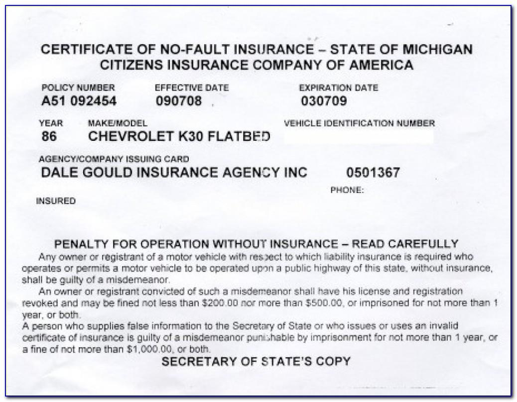Fake Proof Of Insurance Templates