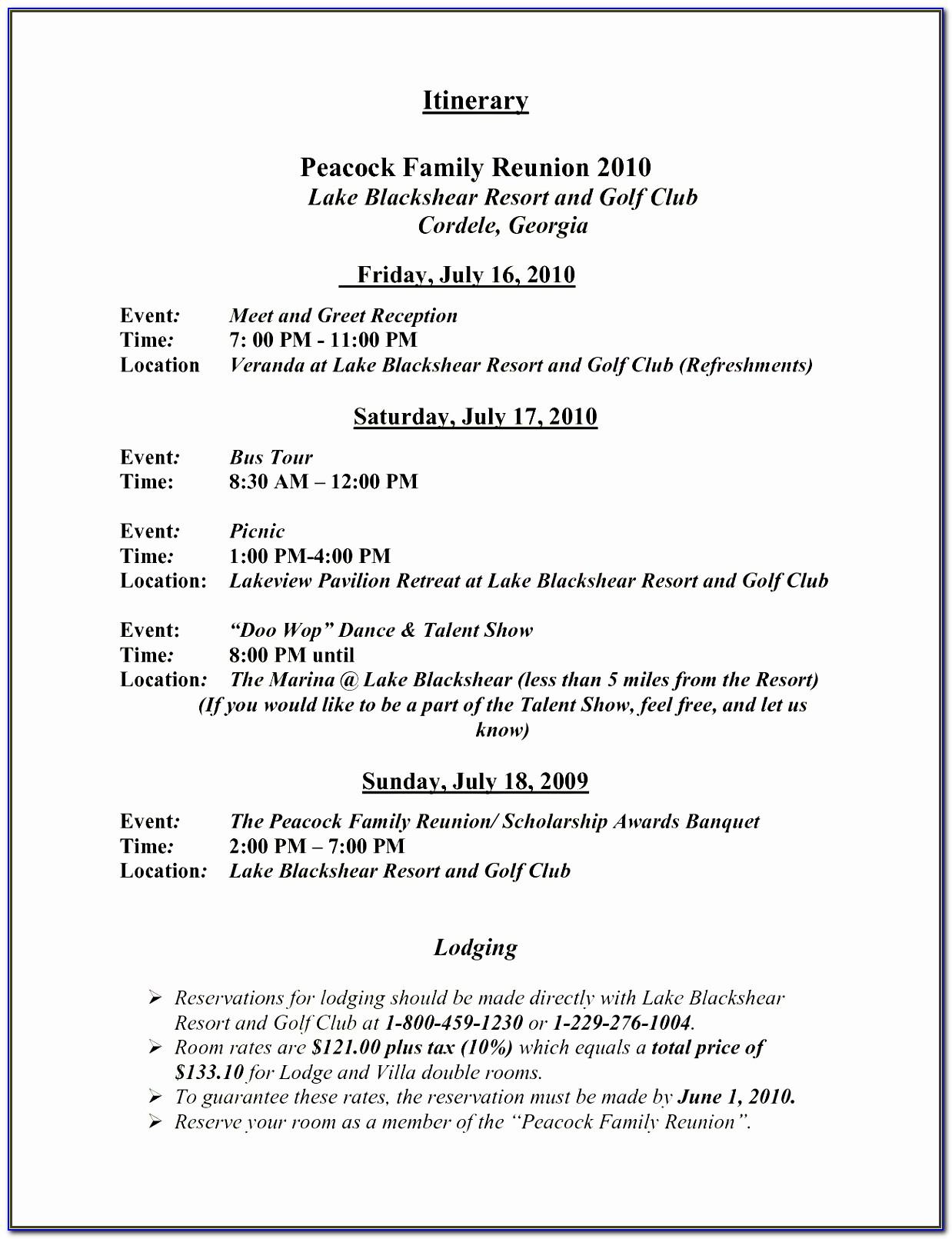Family Reunion Letter Example