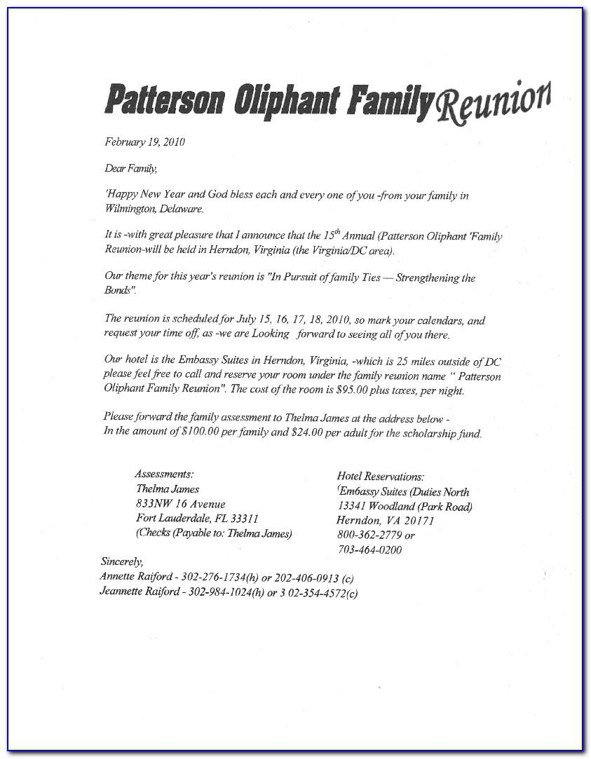 Family Reunion Letter Templates