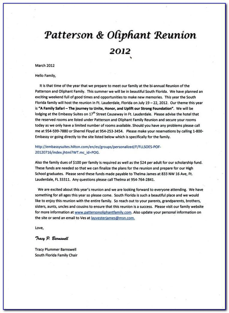 Family Reunion Registration Letter Template