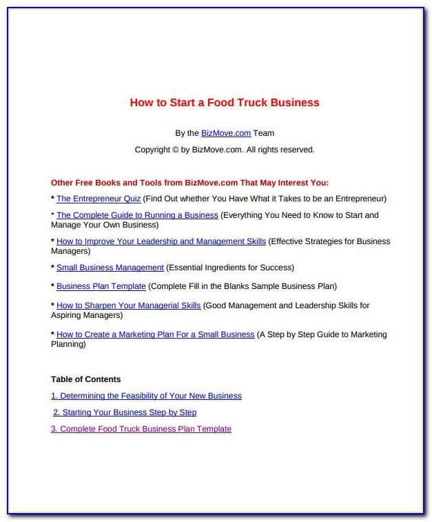 Food Truck Business Plan Format