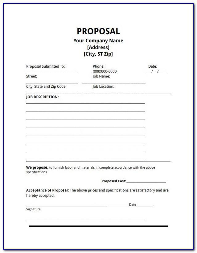 Free Bid Proposal Template Downloads