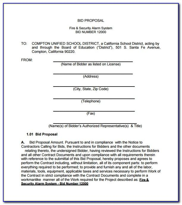 Free Bid Proposal Template For Construction