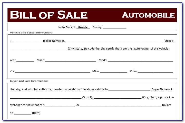 Free Bill Of Sale Template Ga Car