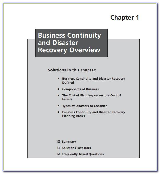 Free Business Continuity And Disaster Recovery Plan Template