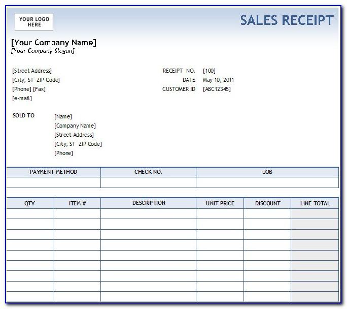 Free Cash Receipt Template Excel