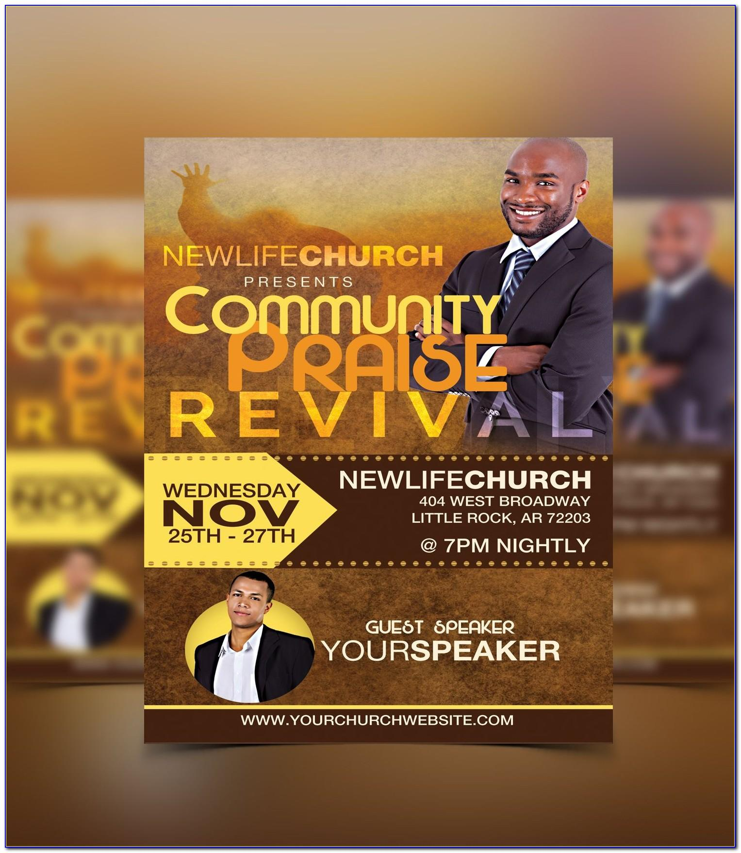 Free Church Revival Flyer Template Psd
