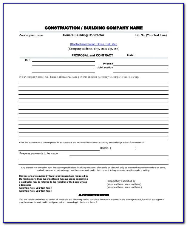 Free Construction Proposal Template Excel