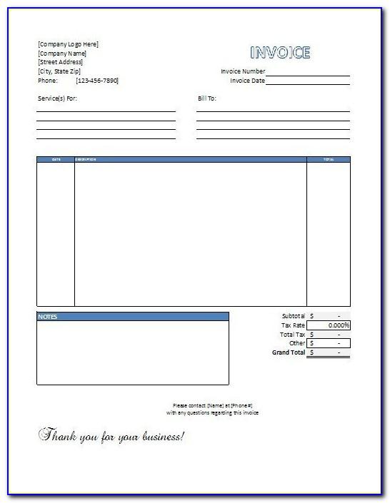 Free Downloadable Invoice Template Excel
