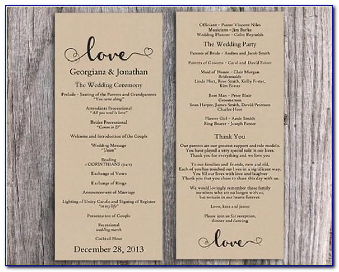 Free Downloadable Rustic Wedding Program Template That Can Be Printed