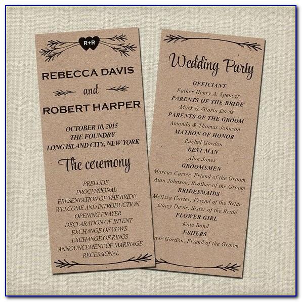 Free Downloadable Rustic Wedding Program Templates