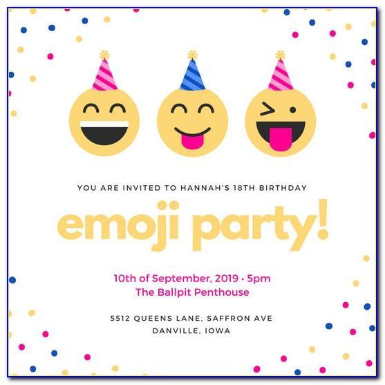 Free Emoji Birthday Party Invitation Template