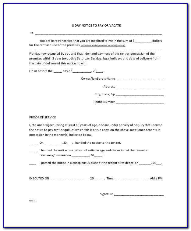 Free Eviction Notice Florida Template