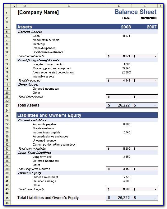 Free Financial Statement Template Xls