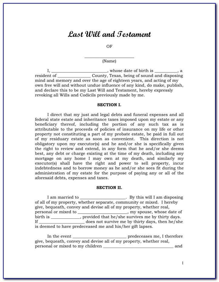 Free Last Will And Testament Template Pdf Texas