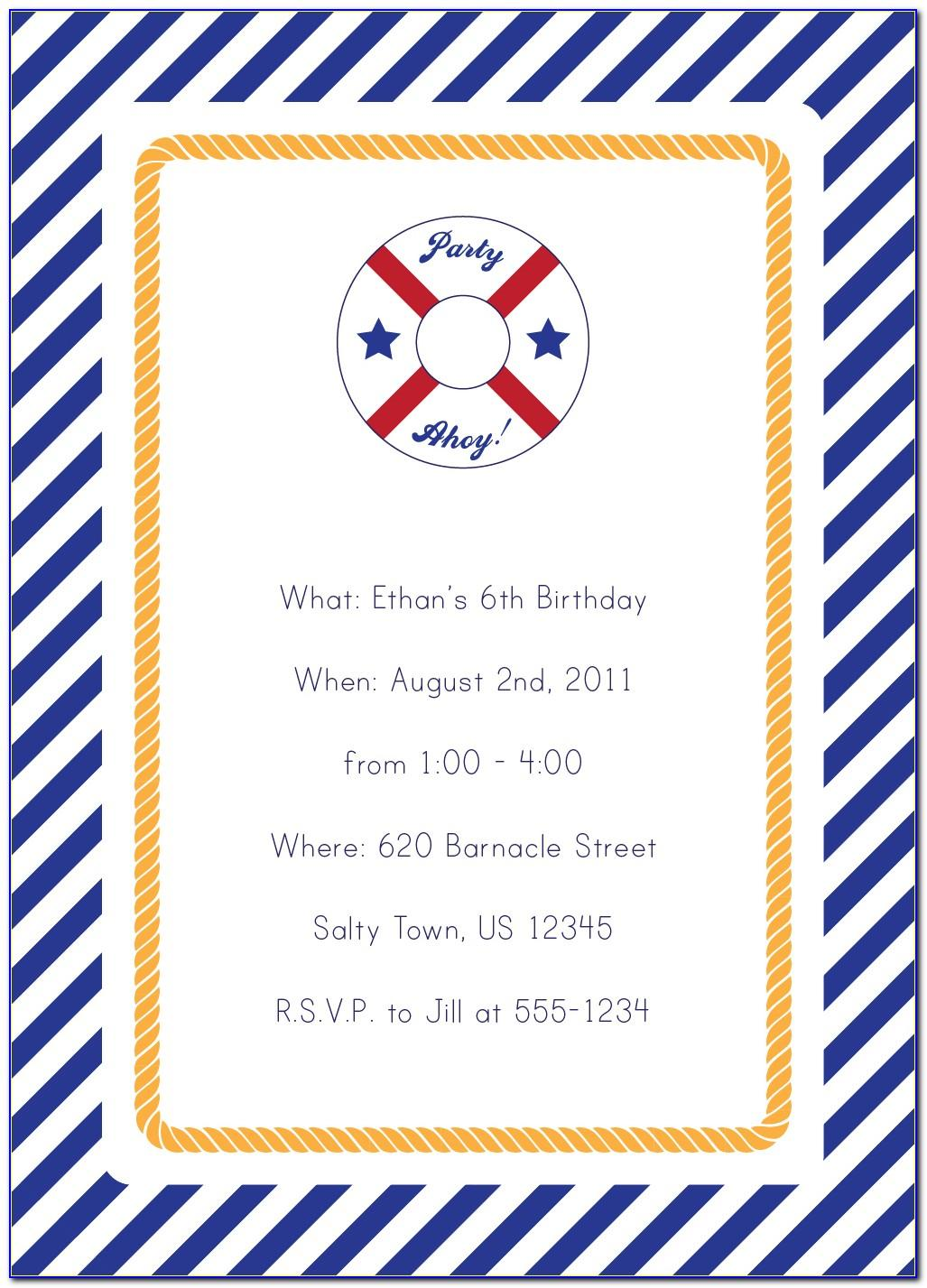 Free Nautical Themed Invitation Templates